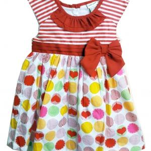 ชุดกระโปรงเด็กผู้หญิงริ้วแดงระบายชุดเกลืองแดง เข้าชุดมีโบ้สีแดง size 2-3-4 ปี
