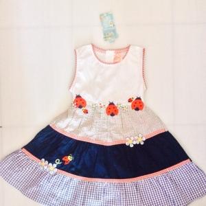 ชุดกระโปรงเด็กหญิงลายปักเต่าทองหน้ารักๆ ขายส่ง ยกแพ็ค 4 ชุด size 2-3-4-5 y 580 บาท