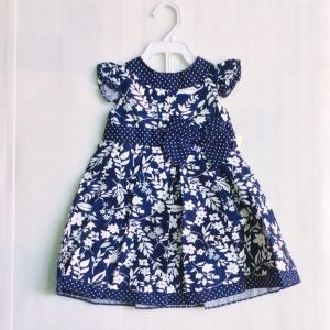 ชุดเด็กผู็หญิงรอร่าแอสเร่พื่นน้ำเงินใบไม้สวยแบบมีคารส( ไฮโซ) ขายส่งยกแพ็ค6ชุดราคา 870บาท s 12-18-24 เดือน