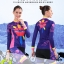 ชุดจักรยานผู้หญิงแขนยาวขายาว CheJi 15 (09) สีน้ำเงินลาย Rose Kiss thumbnail 7