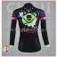 ชุดจักรยานผู้หญิงแขนยาวขายาว CheJi 16 (05) สีดำเขียวชมพู ลายกระโหลก Recing is life thumbnail 4