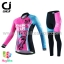 ชุดจักรยานผู้หญิงแขนยาวขายาว CheJi 16 (02) สีชมพูฟ้าดำ ลายผีเสื้อ Recing is life thumbnail 1