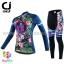 ชุดจักรยานผู้หญิงแขนยาวขายาว CheJi 16 (01) สีน้าเงิน ลายดอกไม้ Recing is life thumbnail 1