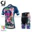 ชุดจักรยานผู้หญิงแขนสั้นขาสั้น CheJi 16 (01) สีน้าเงิน ลายดอกไม้ Recing is life