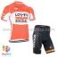 ชุดจักรยานแขนสั้นทีม Lotto Belisol 15 (01) สีส้มขาว