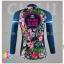 ชุดจักรยานผู้หญิงแขนยาวขายาว CheJi 16 (01) สีน้าเงิน ลายดอกไม้ Recing is life thumbnail 4