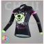 ชุดจักรยานผู้หญิงแขนยาวขายาว CheJi 16 (05) สีดำเขียวชมพู ลายกระโหลก Recing is life thumbnail 3