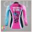ชุดจักรยานผู้หญิงแขนยาวขายาว CheJi 16 (02) สีชมพูฟ้าดำ ลายผีเสื้อ Recing is life thumbnail 4