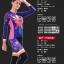 ชุดจักรยานผู้หญิงแขนยาวขายาว CheJi 15 (09) สีน้ำเงินลาย Rose Kiss thumbnail 14