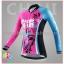 ชุดจักรยานผู้หญิงแขนยาวขายาว CheJi 16 (02) สีชมพูฟ้าดำ ลายผีเสื้อ Recing is life thumbnail 3