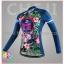 ชุดจักรยานผู้หญิงแขนยาวขายาว CheJi 16 (01) สีน้าเงิน ลายดอกไม้ Recing is life thumbnail 3