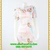 3044เสื้อผ้าคนอ้วน ชุดทำงานผ้าเครปเนื้อดีพิมพิ์ลายหลากสีคอปก ระบายม้วนกุหลาบด้านข้างเก๋สไตล์หวาน