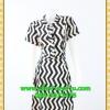2718เสื้อผ้าคนอ้วน ชุดเดรสทำงานลายขาวดำคอจีนเตี้ยกระดุมหน้ากระโปรงทวิสต์คู่เล่นลายสลับดีไซน์หรูไม่ซ้ำใครมั่นใจคล่องตัว