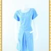 1983ชุดเดรสทำงาน เสื้อผ้าคนอ้วนคอกลมสีฟ้าเพิ่มความโดดเด่นให้กระโปรงทวิสต์ผ่าหน้าเพิ่มกระเป๋าล้วงข้างลำตัว