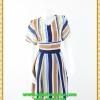 2910เสื้อผ้าคนอ้วน ชุดทำงานลายริ้วคอวีแนวฟรีสไตล์กับผ้าชีฟองเบาสบายสวมใส่ทำงานอย่างอิสระ