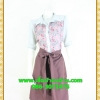 2605ชุดทํางาน เสื้อผ้าคนอ้วนชุดลายดอกสไตล์เชิ๊ตแขนยาวครึ่งศอกปลายแขนตุ๊กตากระดุมหน้ากระโปรงน้ำตาลพรางสะโพก