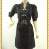 F0360ชุดแซกทำงาน เสื้อผ้าคนอ้วนแขนครึ่งศอกคอจีนกระดุมคู่เดินเส้นขาวตัดลายดีไซน์ทรงสปอร์ตชุดดำ