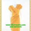 2804 ชุดออกงานคนอ้วน ชุดไปงานแต่ง ชุดเดรสทำงาน เสื้อผ้าคนอ้วนคอวีสีเหลืองตีเกล็ดและระบายด้านหน้าด้วยผ้าวูลพีซสไตล์เนี๊ยบหรู