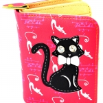 กระเป๋าสตางค์ สีชมพู ลายแมวดำ น่ารัก ไม่เหมือนใคร