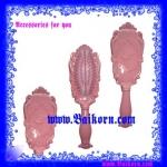 หวีแปรงลายดอกกุหลาบ สืชมพู สไตล์ Anna สุดคลาสิก ขนาด 16.5 ซม