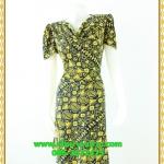 3085ชุดทำงาน เสื้อผ้าคนอ้วนลายไทยสีเหลือง คอถ่วงชุดเข้ารูปเอาทรงเอผ้าเบาพริ้วนิ่มทิ้งตัว