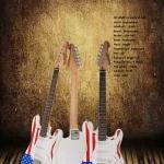 กีต้าร์โฟฟ้า ทรง ST ลายธงชาติ USA ยี่ห้อ Dreammaker รหัสสินค้า : B043 Brand : Dreammaker Model : USA-043 Body : Pualownia Neck : Maple Fingerboard : Rosewood Fret : 22 Pickup : 3 Single Coil Pickup Switch : 5 Ways Pick guard : White Control : 1V 2T Color