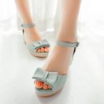 รองเท้าส้นสูงสีม่วง แบบส้นหนา รัดส้น แต่งหัวโบว์ เข็มขัดปรับระดับได้ สไตล์โรมัน แฟชั่นเกาหลี