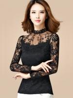 เสื้อแฟชั่นสีดำ คอปีนแต่งลูกไม้สลับผ้าตาข่ายและผ้าชีฟอง สวยหรู