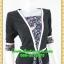 2643ชุดทํางาน เสื้อผ้าคนอ้วนสีดำลายวินเทจตัดต่อผ้าพื้นและลายคั่นด้วยกุ้นสี แขนยาว สไตล์เนี๊ยบสุดหรูมีรสนิยมเลือกชุดทำงาน thumbnail 2
