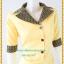 3168เสื้อผ้าคนอ้วนเนื้อทรายสีเหลืองแต่งปกและแขนผ้าไทยโดดเด่นสง่างาม thumbnail 2