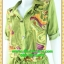 F2233ชุดแซกทำงาน เสื้อผ้าคนอ้วนลายเขียวปกเชิ๊ตเอวถ่วงผูกโบสไตล์สปอร์ต แขนยาวอินธนูทรงหลวมสวมใส่พรางรูปร่างผ้าอินโด thumbnail 3