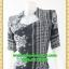 2758ชุดทํางาน เสื้อผ้าคนอ้วนสีน้ำเงินลายขาวดำสวยลุคหรูสง่างามคอปีนโค้งรูปหัวใจโชว์เครื่องประดับสไตล์ออกงานเรียบหรู thumbnail 3