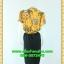 668เสื้อผ้าคนอ้วน ชุดทำงานลายเหลืองผ้าวาเลนติโน่พิมพ์ลาย คอจีนแต่งระบายโดดเด่นบริเวณคอต่อกระโปรงดำสไตล์สาวมั่น คล่องตัวและแตกต่าง thumbnail 4