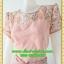 2822เสื้อผ้าคนอ้วน ชุดสีชมพูสไตล์ออกงานคอกลมปูลูกไม้โปร่งบริเวณคอลายดอกหวานแต่งแขนโปร่งสไตล์หรูหวานซ่อนเปรี้ยว thumbnail 3