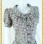 2395ชุดทํางาน เสื้อผ้าคนอ้วนคอบัวแขนตุ๊กตาอินเทรนสวยน่ารัก ผ้าทอลายสก็อตเทากระดุมหน้าเปิดได้สวมง่ายทรงเอเอวต่ำทันสมัย thumbnail 2