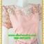 2822เสื้อผ้าคนอ้วน ชุดสีชมพูสไตล์ออกงานคอกลมปูลูกไม้โปร่งบริเวณคอลายดอกหวานแต่งแขนโปร่งสไตล์หรูหวานซ่อนเปรี้ยว thumbnail 2