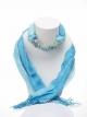 ผ้าพันคอสีฟ้าทูโทน ประดับฟลูออไรต์