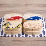 Special Oval 2 stages Shiraki bending magewappa bento box กล่องข้าวญี่ปุ่นวงรีสีไม้ 2 ชั้น ลายพิเศษ