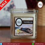 เทียนหอมในแก้วใสเหลี่ยมใหญ่ กลิ่น วนิลา VANILLA Scented Glass Candle