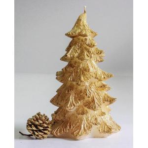 เทียนต้นสนคริสมาสไม่มีฐานไร้กลิ่น 21 cm สีทอง