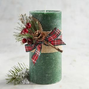 เทียนหอมแท่ง สีเนื้อ ขนาด 3 x 6 นิ้ว กลิ่น Wreath [ต้นสน]