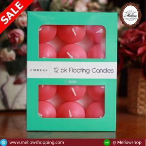 เทียนหอมลอยน้ำ [Floating Candle] กลิ่นดอกกุหลาบ (ROSE) 12 ชิ้น ต่อแพ็ค
