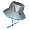หมวกกันแดด กันยูวี UV Bucket ปีกรอบ มีสายคล้อง สีเงิน/ฟ้า (ใส่ได้2ด้าน)