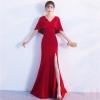 ชุดราตรียาวสีแดง แขนระบาย เข้ารูป ลุคเรียบหรู สวยดูดี ใส่ออกงาน ไปงานแต่งงาน
