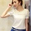 เสื้อทำงานสีขาว คอกลมประดับมุกสีขาว แขนสั้น ผ้าชีฟอง size XL