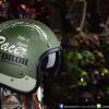 หมวกกันน็อคคลาสสิก 5เป๊ก (มีแว่น) สี MotorOil/Green