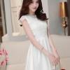 ชุดไปงานแต่งงานสวย น่ารัก สีขาว ผ้าซีทรูซับในด้วยผ้าไหมเกาหลี คอลูกไม้ แขนกุด ด้านหลังผูกโบว์สวยเก๋ๆ เอวเข้ารูป ซิปข้าง size M