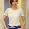 เสื้อทำงานสีขาว คอกลมประดับมุกสีขาว แขนสั้น ผ้าชีฟอง size S