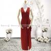 ชุดเดรสออกงานสีแดง คอวี เอวจับจีบระบาย ลุคเรียบๆ สวยหรู ดูสง่า เหมาะสำหรับใส่ออกงาน ไปงานแต่งงาน ( พร้อมส่ง )