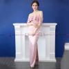 ชุดเดรสออกงาน/ไปงานแต่งงานสีชมพู เปิดไหล่แต่งระบาย กระโปรงยาวผ่าหน้า สไตล์เรียบหรู สวยๆ ดูดี ( สินค้าพร้อมส่ง )
